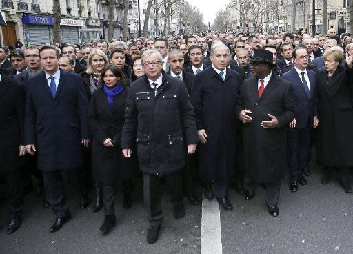Unlikely scenes as Netanyahu, Abbas march in historic Paris rally
