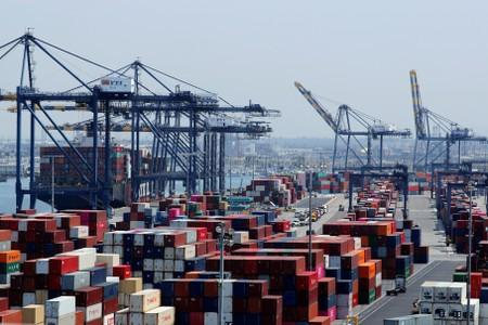 FILE PHOTO -  Ship and containers are shown at the port of Los Angeles in Los Angeles, California,