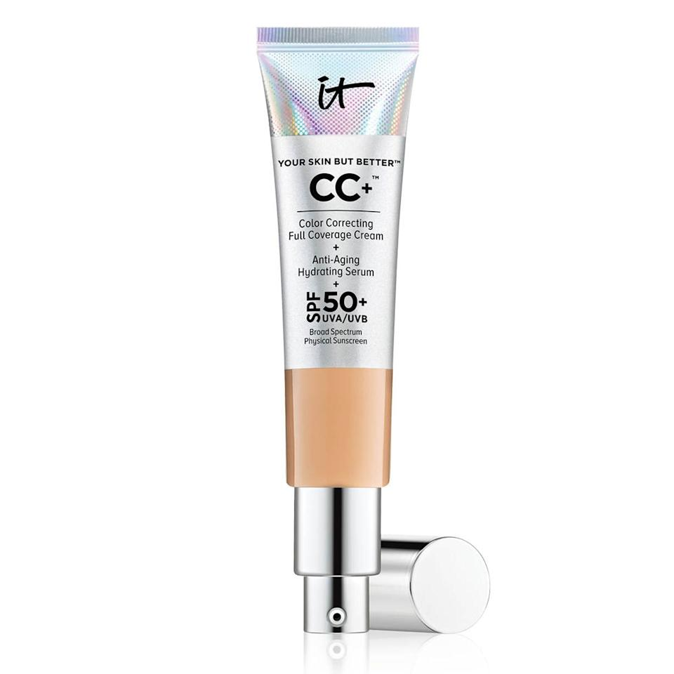 "<p>The <a href=""https://www.popsugar.com/buy/Cosmetics-CC-Cream-SPF-50-502907?p_name=It%20Cosmetics%20CC%2B%20Cream%20With%20SPF%2050%2B&retailer=sephora.com&pid=502907&price=39&evar1=bella%3Aus&evar9=46772773&evar98=https%3A%2F%2Fwww.popsugar.com%2Fphoto-gallery%2F46772773%2Fimage%2F46772775%2FStep-1-Apply-Easy-to-Blend-CC-Cream&list1=makeup%2Cbeauty%20products%2Cbeauty%20trends&prop13=api&pdata=1"" rel=""nofollow"" data-shoppable-link=""1"" target=""_blank"" class=""ga-track"" data-ga-category=""Related"" data-ga-label=""https://www.sephora.com/product/your-skin-but-better-cc-cream-spf-50-P411885?icid2=products%20grid:p411885&amp;skuId=2130946"" data-ga-action=""In-Line Links"">It Cosmetics CC+ Cream With SPF 50+</a> ($39) can be easily applied with my hands and perfects my complexion without looking cakey. It takes about 30 seconds to blend out with my fingers and has added sun protection as a bonus. </p>"