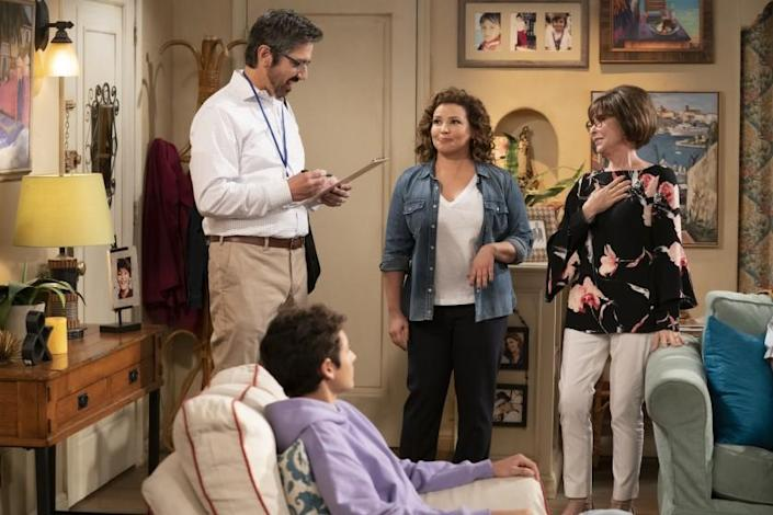 """Ray Romano as Brian, left, Marcel Ruiz as Alex, Justina Machado as Penelope and Rita Moreno as Lydia in """"One Day at a Time."""" The series missed out on a 2020 Emmy nomination, as Latinos were once again sorely underrepresented. <span class=""""copyright"""">(Nicole Wilder / POP TV)</span>"""