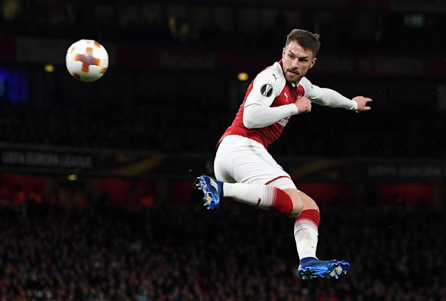Aaron Ramsey scored a special goal – Arsenal's third of four in the first half – against CSKA Moscow in the Europa League. (Getty)