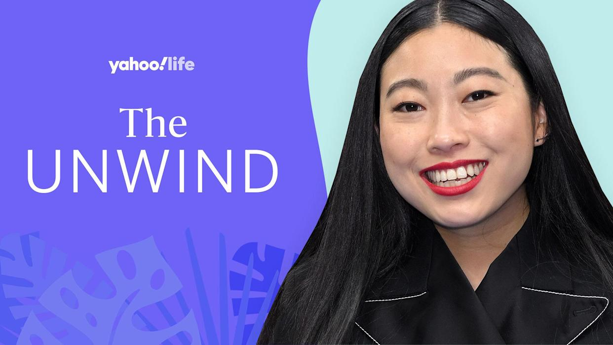Awkwafina shares how she unwinds. (Photo: Getty; designed by Quinn Lemmers)
