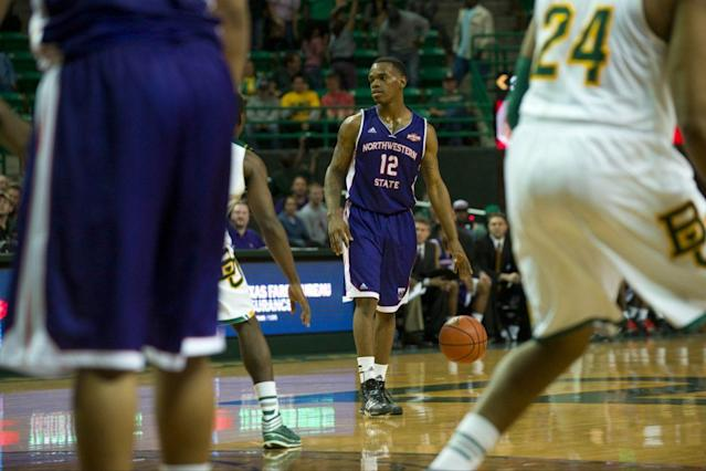 "Northwestern State's <a class=""link rapid-noclick-resp"" href=""/ncaab/players/134661/"" data-ylk=""slk:Jalen West"">Jalen West</a> led the nation in assists before back-to-back ACL tears derailed his career. (Getty)"