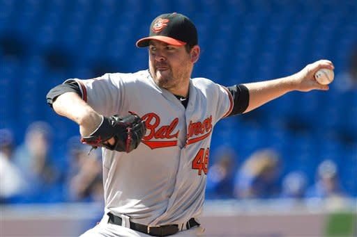 Baltimore Orioles' Joe Saunders works against Toronto Blue Jays during the fifth inning of their baseball game in Toronto on Monday, Sept. 3, 2012. (AP Photo/The Canadian Press, Chris Young)