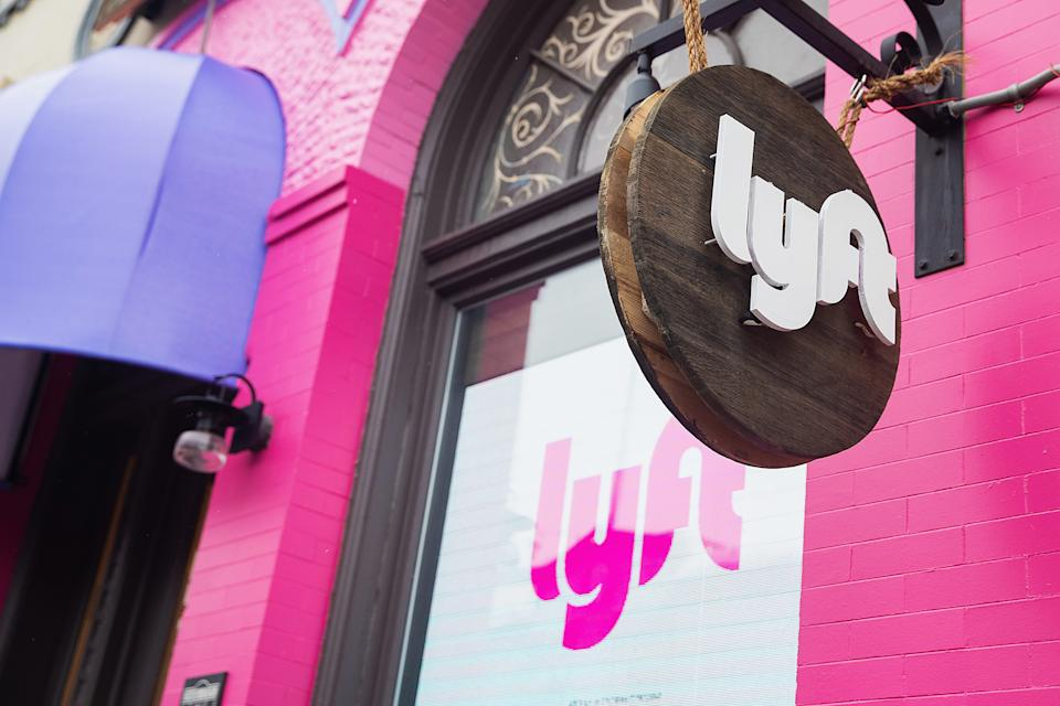 PARK CITY, UT - JANUARY 23:  General view of pink lyft logo and sign on Main Street during the Sundance Film Festival on January 23, 2020 in Park City, Utah.  (Photo by Mat Hayward/Getty Images)