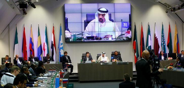 Russia's Energy Minister Novak, Saudi Arabia's Energy Minister al-Falih and OPEC Secretary General Barkindo attend an OPEC meeting in Vienna
