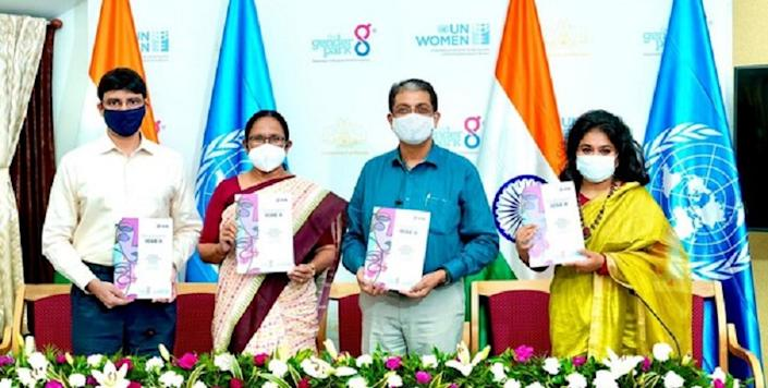 K K Shailaja, Kerala Minister for Health, Social Justice and Women & Child Development, announced the conference by releasing a brochure |Image credit: ANI