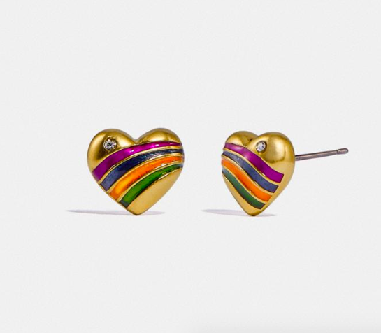 Rainbow Heart Stud Earrings. Image via Coach.