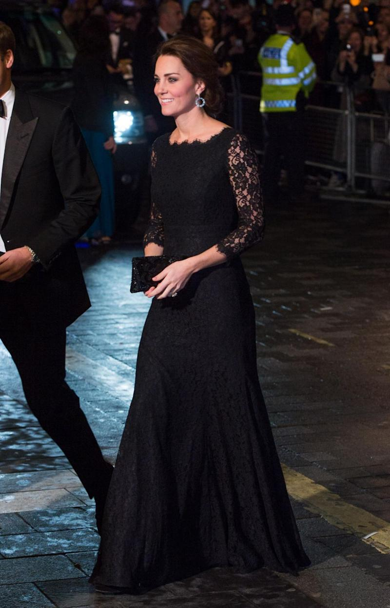 Kate also wore the same dress in 2014 to the Royal Variety Show, when she was pregnant with Princess Charlotte. Photo: Getty Images