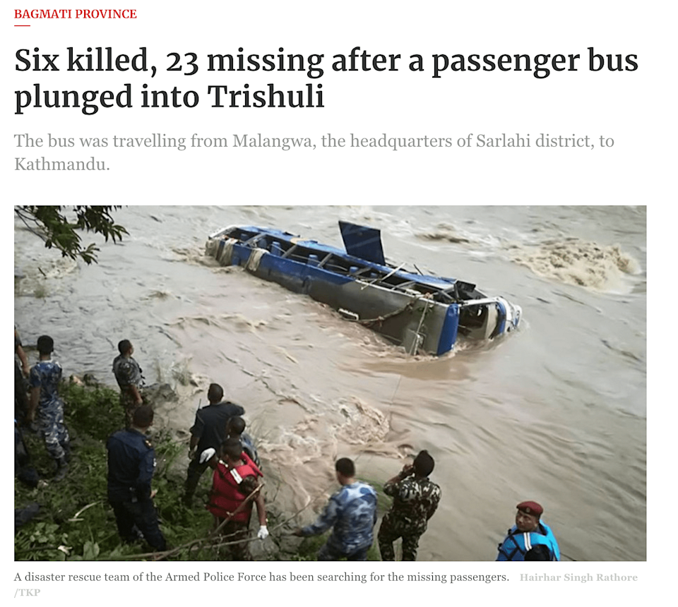 """<div class=""""paragraphs""""><p>Six people had died when the bus plunged into Trishuli river.</p></div>"""