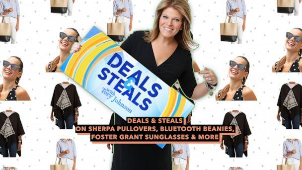 PHOTO: Deals & Steals on sherpa pullovers, Bluetooth beanies, Foster Grant sunglasses & more (ABC News Photo Illustration, Rain Raps, Foster Grant, Lulu Dharma)