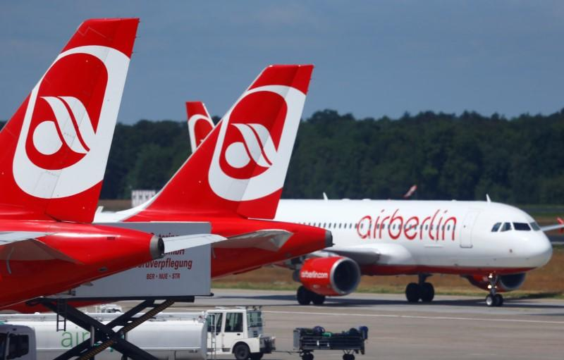 FILE PHOTO: German carrier Air Berlin aircrafts are pictured at Tegel airport in Berlin