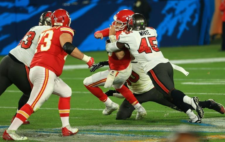 Kansas City quarterback Patrick Mahomes is sacked by the rampant Tampa Bay defense