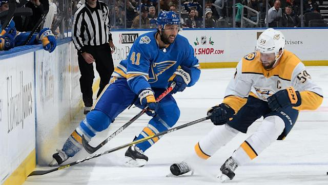 Robert Bortuzzo of the St. Louis Blues was under the spotlight of the NHL's Department of Player Safety on Sunday. (Photo by Scott Rovak/NHLI via Getty Images)