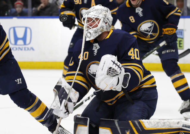 Former Buffalo Sabres goaltender Robin Lehner has opened up about his problem with addiction and depression in a first-person special he penned for The Athletic. (AP Photo/Jeffrey T. Barnes)