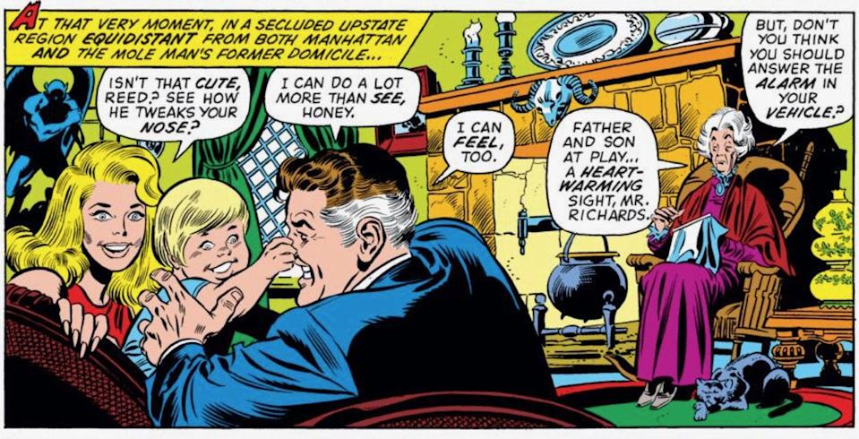 Agnes watches Reed Richards play with his young son.