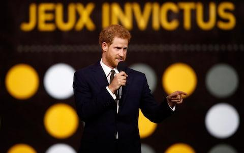 Britain's Prince Harry speaks during the opening ceremony for the Invictus Games in Toronto - Credit: Mark Blinch/Reuters