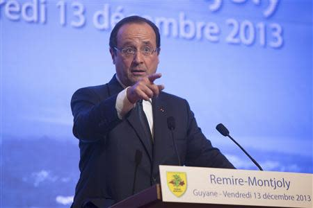 French President Hollande speaks at the town hall in Remire-Montjoly