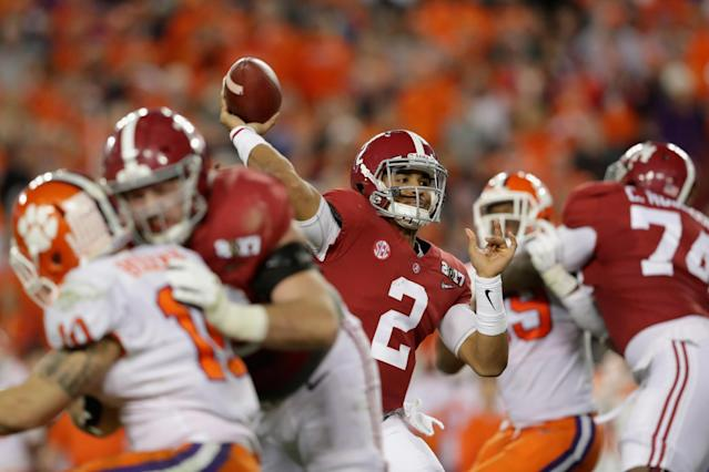 Jalen Hurts is still set to begin the season as Alabama's starter. (Getty)