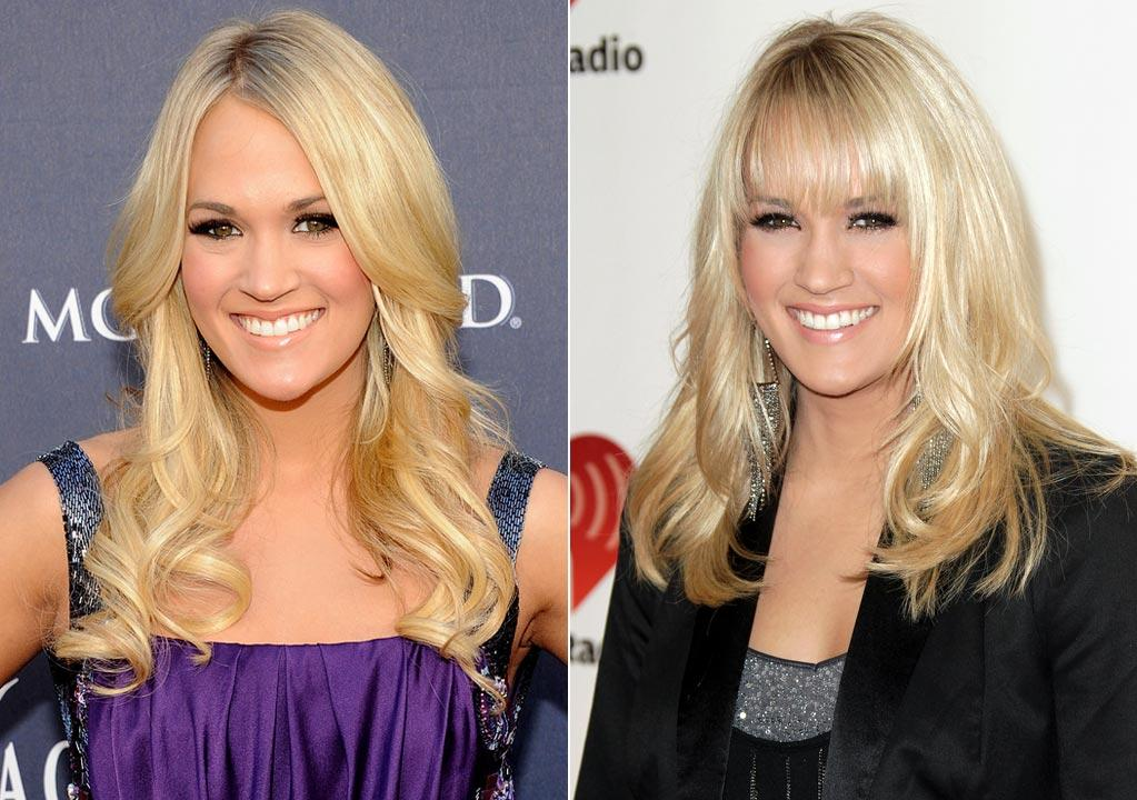 """""""American Idol""""-turned-country queen Carrie Underwood is now flaunting fringe bangs and a sleeker style.        """"Her face is amazing and beautiful,"""" Eber raved about the 28-year-old, although he wasn't as enthusiastic about her locks' new look. """"I understand you need to make the changes, [but it's] not always for the better. She wanted to change up her look to something more edgy and different.""""        We'd say she definitely did that!   Rick Diamond/ACMA2011/Getty Images/Todd Williamson/WireImage.com"""