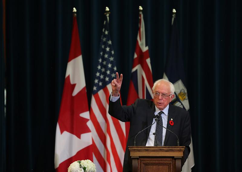Sen. Bernie Sanders speaks at the University of Toronto about his vision for universal health care in the United States. (Steve Russell/Toronto Star via Getty Images)