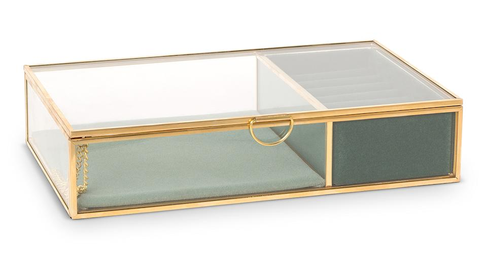 """This beautiful, velvet-lined jewellery box has plenty of space to house your mum's most coveted accessories. The ideal contemporary storage for any modern mum. <a href=""""https://fave.co/31s3XSG"""" rel=""""nofollow noopener"""" target=""""_blank"""" data-ylk=""""slk:Shop now."""" class=""""link rapid-noclick-resp""""><strong>Shop now.</strong></a>"""