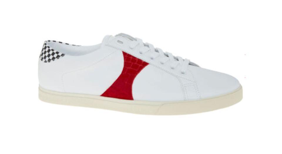 CELINE White & Red Leather Checkerboard Trainers