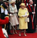 <p>The Queen's matching dress, coat, and hat were all designed by Angela Kelly. </p>