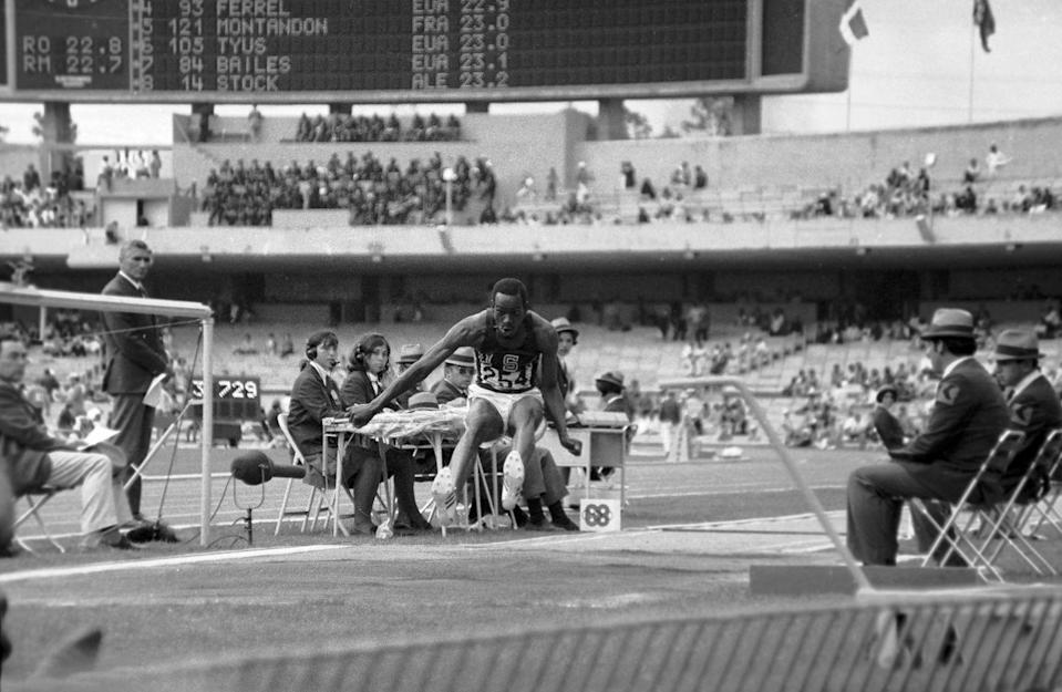 <p>Bob Beamon set the long jump Olympic record in 1968 at the Mexico City Olympics. Beamon, an American athlete, still holds this Olympic record, though his world record was broken in 1991 by Mike Powell. </p>