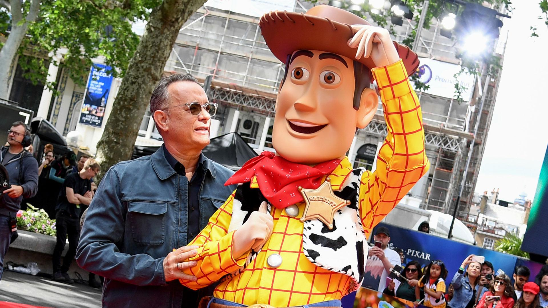 Tom Hanks and Woody attend the European premiere of Disney and Pixar's <i>Toy Story 4</i>. (Photo by Gareth Cattermole/Getty Images for Disney and Pixar)