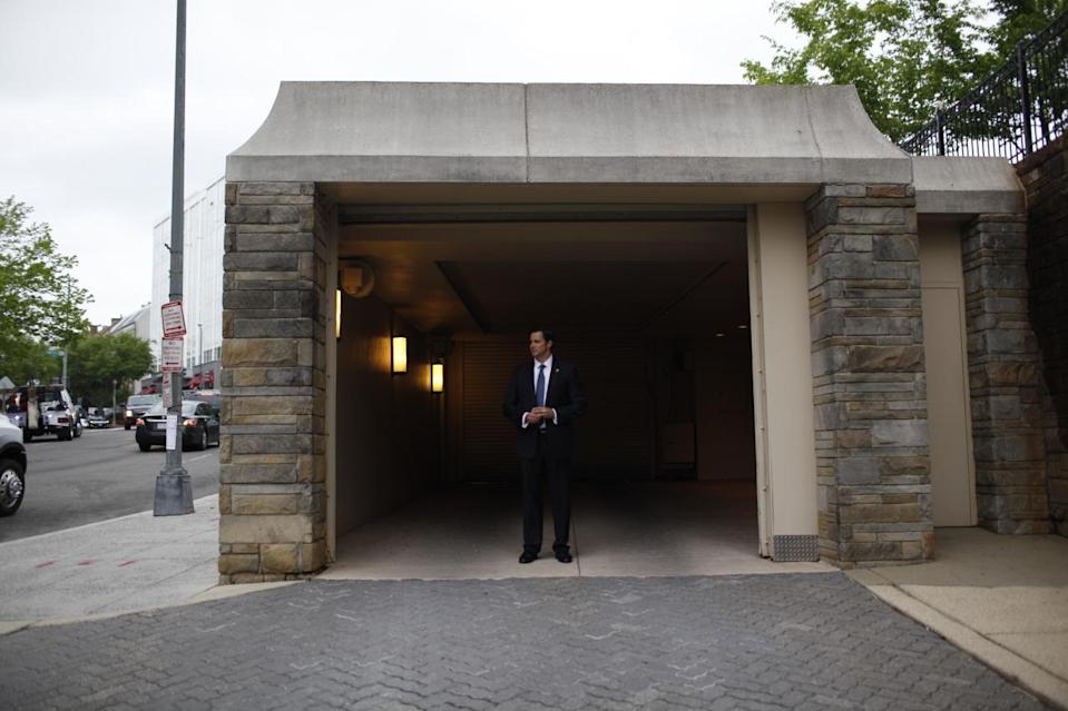 <p>A Secret Service agent guards the garage entrance for the presidential motorcade ahead of the 2016 White House Correspondents' Dinner at the Washington Hilton in Washington, D.C. <i>(Photo: Khue Bui for Yahoo News)</i></p>