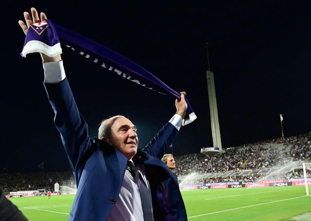 Italian American businessman Rocco Commisso, owner of ACF Fiorentina, before the Italian Serie A soccer match between ACF Fiorentina and SSC Napoli at the Artemio Franchi stadium in Florence, Italy, Saturday Aug. 24, 2019. (Claudio Giovannini/ANSA via AP)