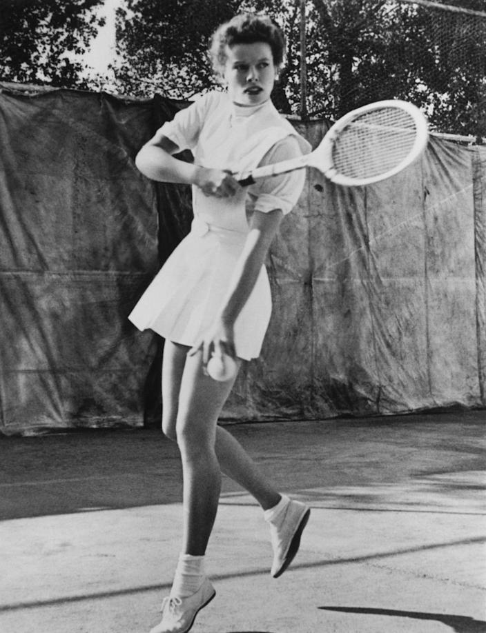 """<p>Starlets often exercised to maintain their physiques, although it wasn't common to talk about it back then. Katharine Hepburn favored tennis and swimming, while Marilyn Monroe was one of the <a href=""""https://www.shape.com/celebrities/celebrity-photos/shape-secrets-old-hollywood-glamour-girls?slide=1be7c231-f7e8-435c-b293-6cf2f6bf645f#1be7c231-f7e8-435c-b293-6cf2f6bf645f"""" rel=""""nofollow noopener"""" target=""""_blank"""" data-ylk=""""slk:first actresses to regularly lift weights"""" class=""""link rapid-noclick-resp"""">first actresses to regularly lift weights</a>. </p>"""