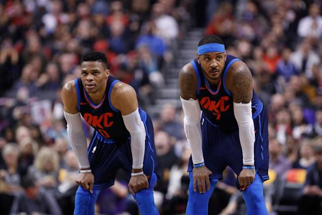 "Teaming up Russell Westbrook, <a class=""link rapid-noclick-resp"" href=""/nba/players/3706/"" data-ylk=""slk:Carmelo Anthony"">Carmelo Anthony</a> and Paul George didn't work out quite the way the Thunder hoped this season. (Getty)"