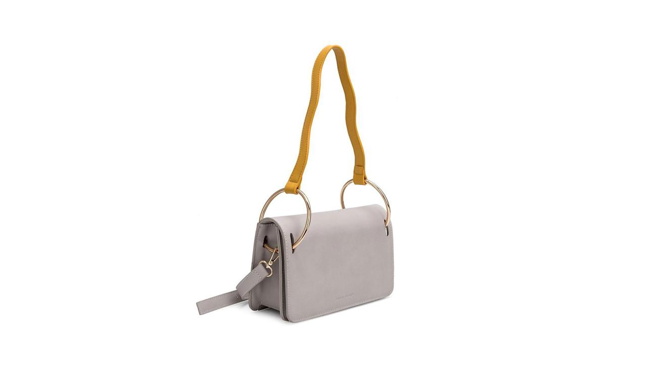 "<p>Beall contrast-strap cross-body, $70, <a rel=""nofollow"" href=""https://www.meliebianco.com/collections/crossbody/products/z3002-beall-taupe"">melieblanco.com</a> </p>"