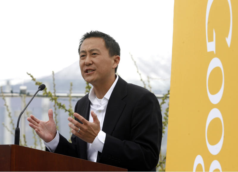 Kevin Lo, General Manager of Google Fiber, speaks after it was announced that Google will make Provo, Utah, the third city to get its high-speed Internet service via fiber-optic cables, Wednesday, April 17, 2013 in Provo. The Provo deal is the first time Google plans to acquire an existing fiber-optic system. The city of 115,000 created the fiber-optic network, iProvo, in 2004, which has struggled to break even. (AP Photo/The Salt Lake Tribune, Rick Egan)  DESERET NEWS OUT; LOCAL TV OUT; MAGS OUT