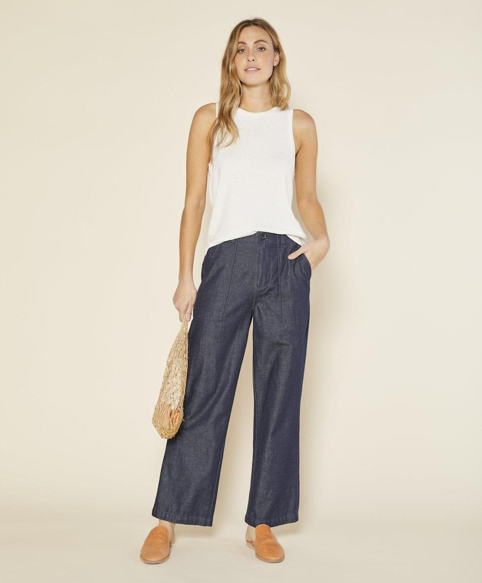 <p>I wore these <span>Denim Field Pants</span> ($128) to brunch last weekend and was so in awe of the fit. The sit perfectly above my hips and have a sleek long leg without hugging to many of my assets. Safe to say, I'm obsessed. </p>