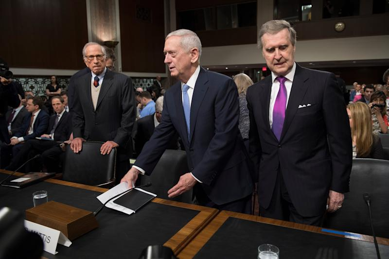 James Mattis, center, nominee for secretary of defense, arrives with former senator Sam Nunn, left, and former senator William Cohen on Jan. 12, 2017, before the start of his confirmation hearing before the Senate Armed Services Committee.