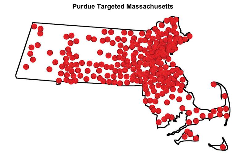 """The map below shows Massachusetts communities where Purdue promoted opioids since 2007,"" the lawsuit alleges. ""Each dot represents a city or town where Purdue sales reps promoted opioids in Massachusetts."" (Source: Massachusetts AGO Amended Complaint 2019-01-31)"