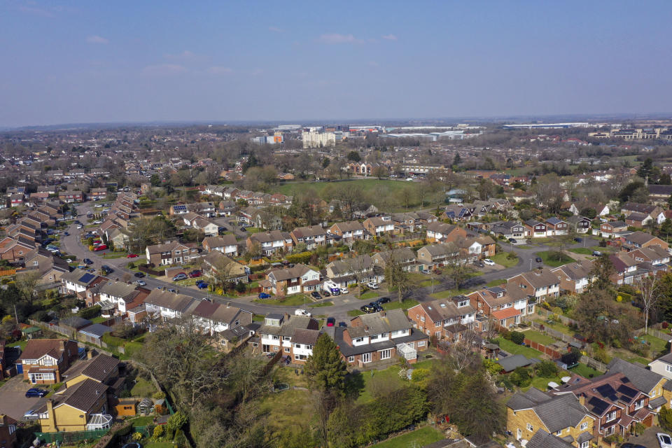 A aerial view of Leverstock Green, near Hemel Hempstead. PA Photo. Picture date: Friday March 27, 2020. The UK's coronavirus death toll reached 578 on Thursday. See PA story HEALTH Coronavirus. Photo credit should read: Steve Parsons/PA Wire