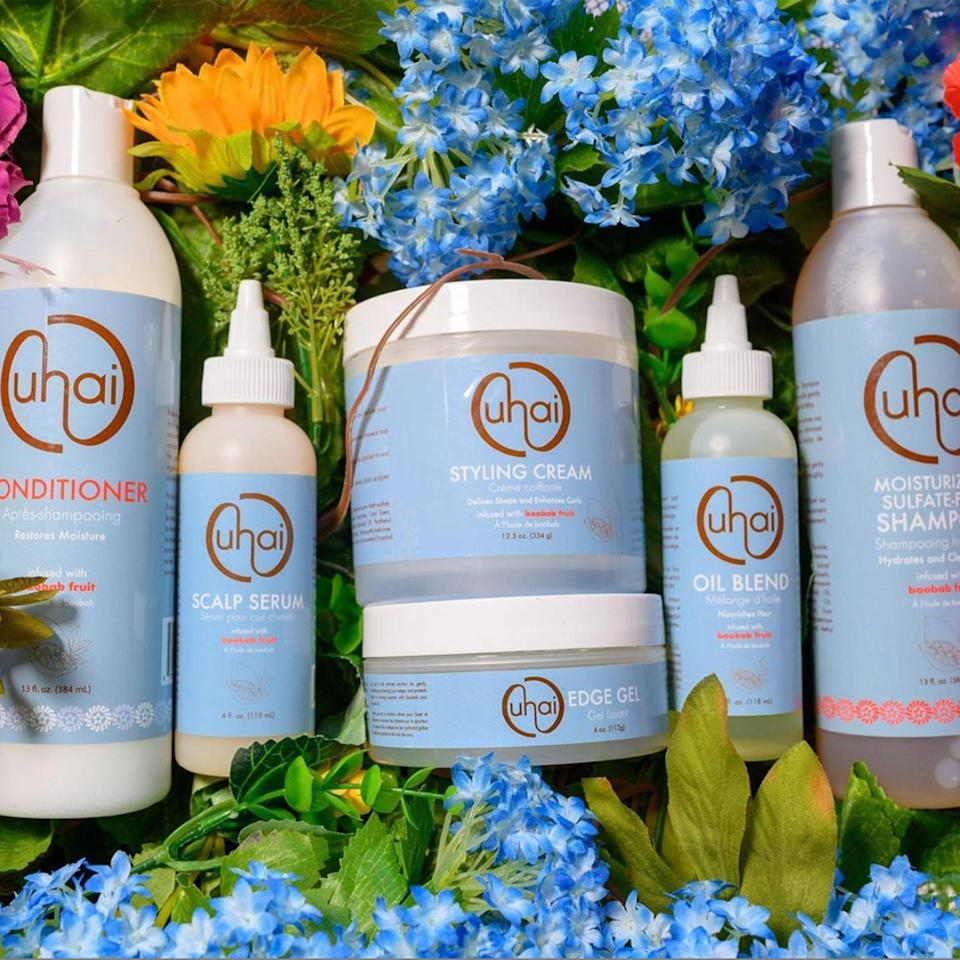 "<p>Uhai Hair uses baobab oil as the base for all six of its current products. Susan Edwards and her husband, Varsay Sirleaf, initially launched the brand in 2017 in Liberia and, two years later, brought it to the United States. Each product smells absolutely amazing the moment you open it — the perfect mix of floral and sweet aromas. The Oil Blend is a favorite of two <em>Allure</em> staff members who love how the oils add moisture to their dry scalp without any additional product buildup or grease.</p> <p><a href=""https://uhaihair.com/"" rel=""nofollow noopener"" target=""_blank"" data-ylk=""slk:Shop Now"" class=""link rapid-noclick-resp""><strong>Shop Now</strong></a></p>"