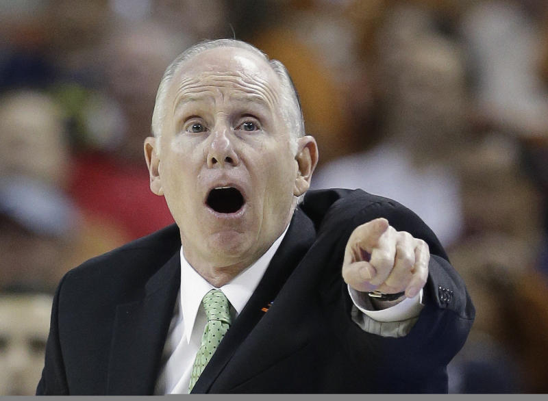 Miami head coach Jim Larranaga reacts during the first half of a third-round game of the NCAA college basketball tournament against the Illinois Sunday, March 24, 2013, in Austin, Texas. (AP Photo/David J. Phillip)
