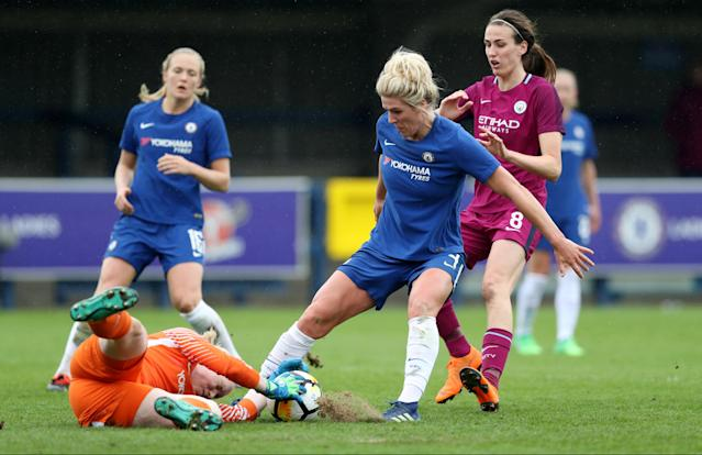 Soccer Football - Women's FA Cup Semi Final - Chelsea vs Manchester City - The Cherry Red Records Stadium, London, Britain - April 15, 2018 Chelsea's Millie Bright and Hedvig Lindahl in action with Manchester City's Jill Scott Action Images/Peter Cziborra