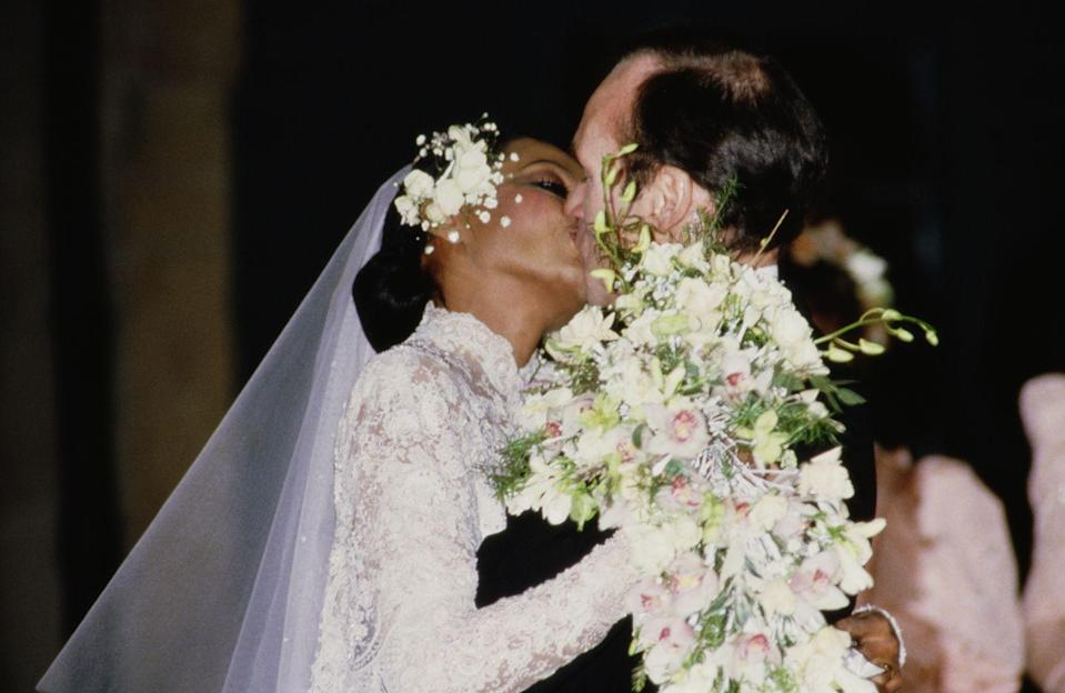 <p>Years after parting with the Supremes, singer and actress Diana Ross met her second husband, Norwegian businessman Arne Næss Jr., during a vacation in the Bahamas. Their wedding in Romainmotier, Switzerland, on February 1 included music from a 45-member Norwegian Silver Boy's Choir. (The couple had been legally married since a civil ceremony in NYC on October 23.) They divorced in 2000.</p>