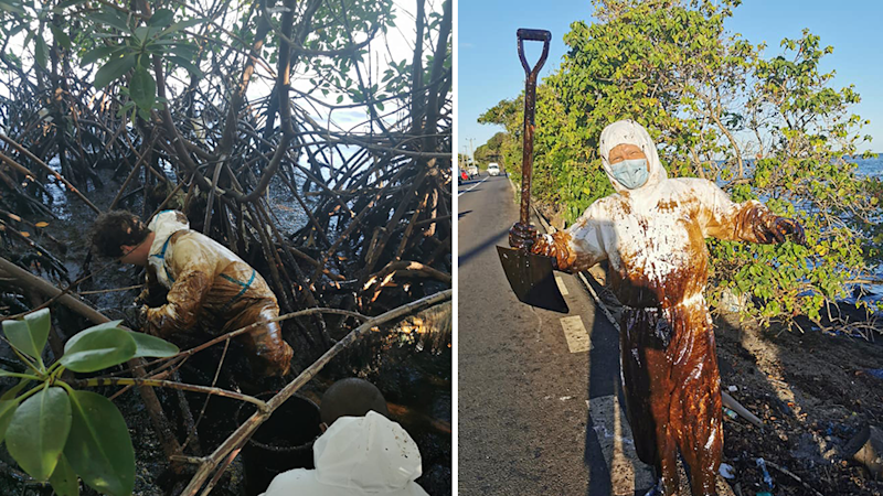 Split screen. Left - Adrien Charles Duval wades into the mangrove. Right - A volunteer in PPE that is covered in oil holds up a shovel