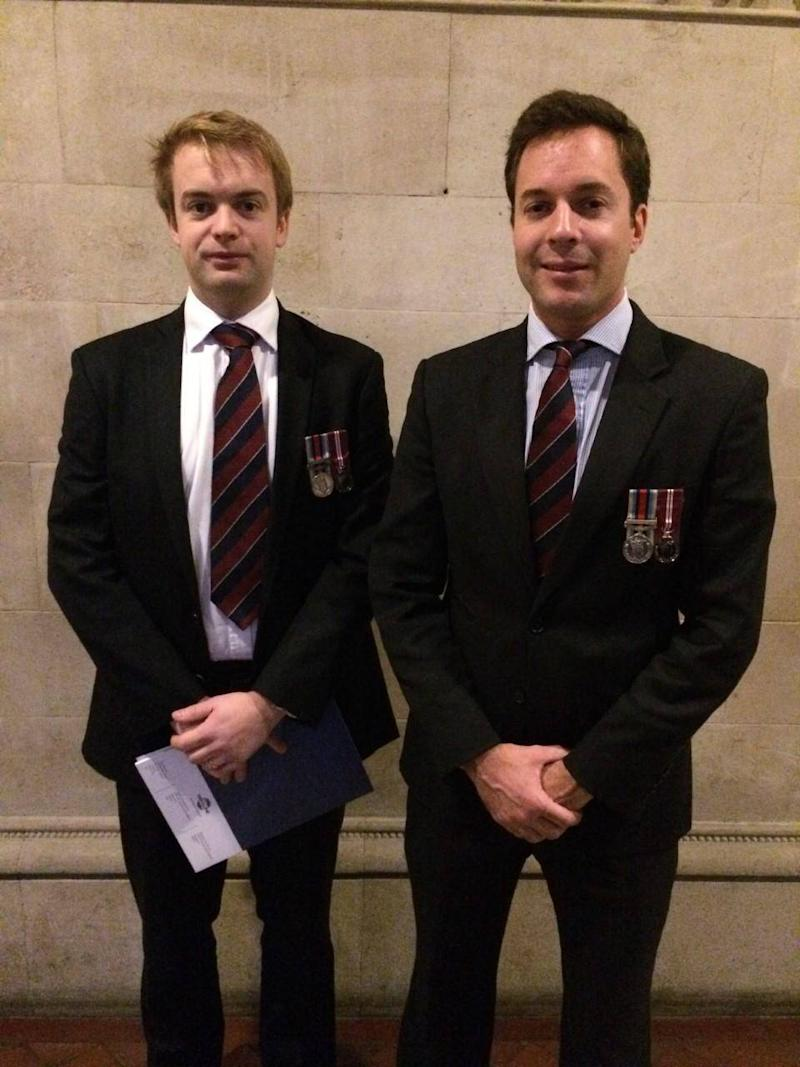 Peter Gordon Finlayson (left) and Toby Mossop, who both served the British Army in Afghanistan working alongside Mr Husseinkhel, were in court to give evidence to support his bail application