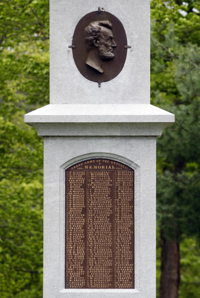 In this April 27, 2012 photo, a monument that bears a medallion of President Abraham Lincoln and the names of Albany residents who died in action during the Civil War is seen at Albany Rural Cemetery in Menands, N.Y. Nearly 150 years after the last fusillade of the Civil War, historians, authors and museum curators are still finding new topics to explore as the nation commemorates the sesquicentennial of America's bloodiest conflict. Even the long-accepted death toll of 620,000, cited by historians since 1900, is being reconsidered. In a study published late last year in Civil War History, Binghamton University history demographics professor J. David Hacker said the toll is actually closer to 750,000. (AP Photo/Mike Groll)
