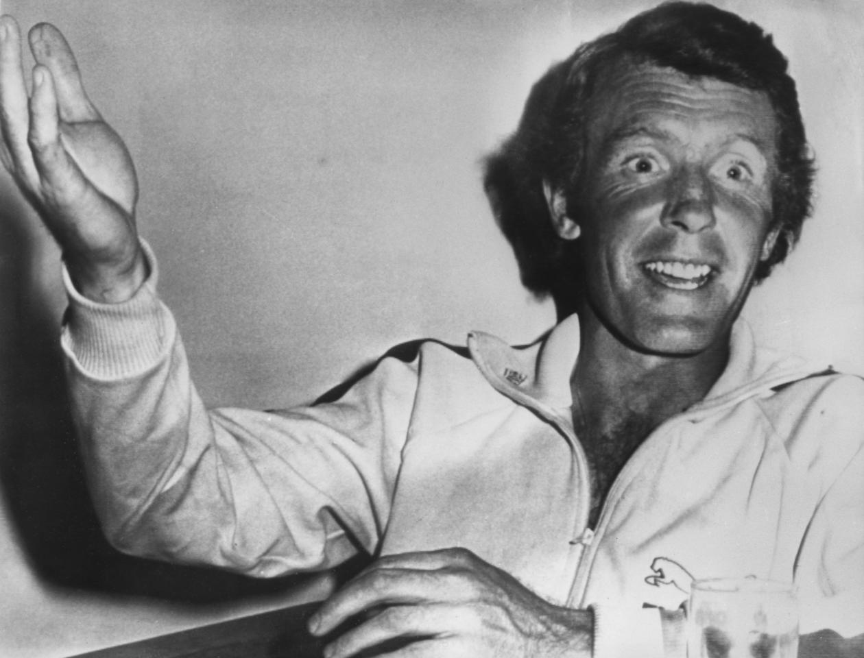 Scottish cricketer and England captain Mike Denness in the dressing room after his team's victory in the final Test at Melbourne, Australia, 13th February 1975. (Photo by Keystone/Hulton Archive/Getty Images)