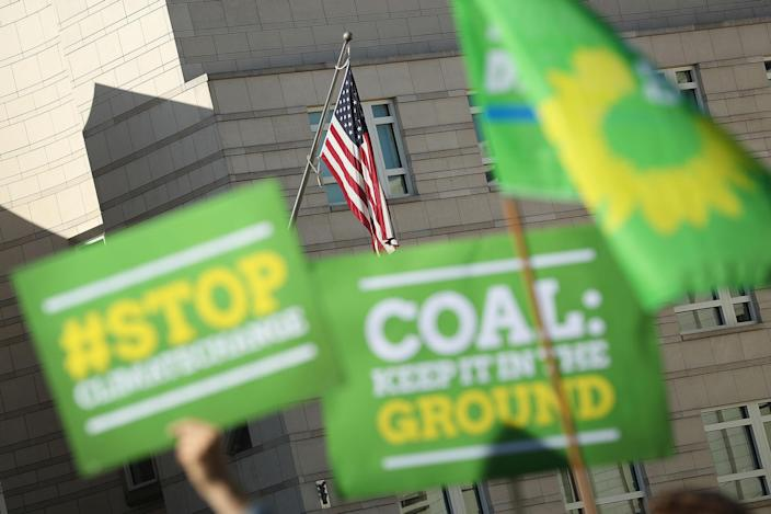 <p>Members of the German Green Party (Buendnis 90/Die Gruenen) protest outside the U.S. Embassy against the announcement by U.S. President Donald Trump the day before that he will pull the USA out of the Paris Agreement on June 2, 2017 in Berlin, Germany. Politicians and governments across Europe have reacted with dismay and frustration over Trump's decision to pull the world's second biggest emitter of greenhouse gases out of the Paris Agreement. Nearly all the world's acountries signed the agreement in 2015 with the goal of setting a limit to global warming in an effort to counter climate change. (Photo by Sean Gallup/Getty Images) </p>