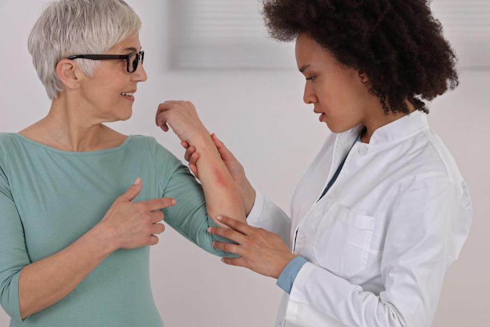 <span>While skin resembling an orange peel is one thing, breast cancer could show up with other textural changes as well. According to the </span><span>National Breast Cancer Foundation</span><span>, skin that looks scaly and red should also be examined by a doctor. </span>